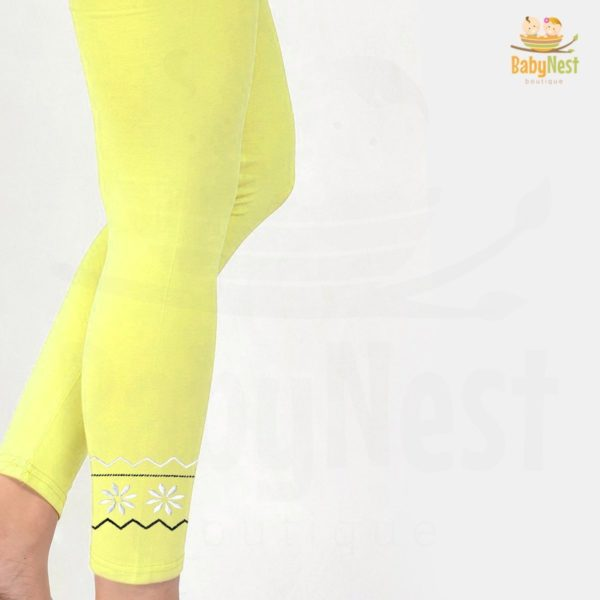 Yellow Embroidered Tight for Girls