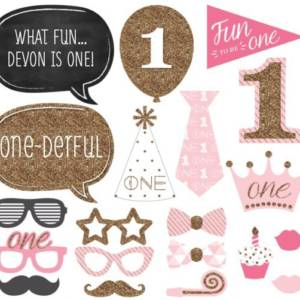 Baby Girl 1st Birthday Photo Booth Props