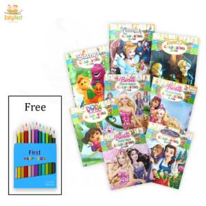 8 coloring books with free color pencil box
