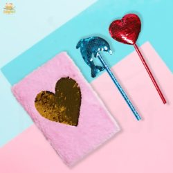 heart shaped notebook with two pencils