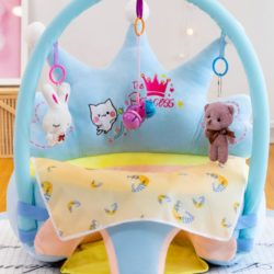 Baby floor seat - crown baby floor seat (blue) with toy bar