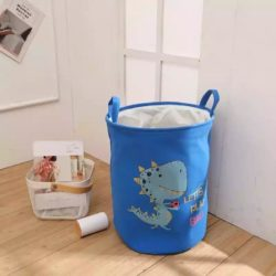 kids laundry hamper - round laundry basket with dinosaur print